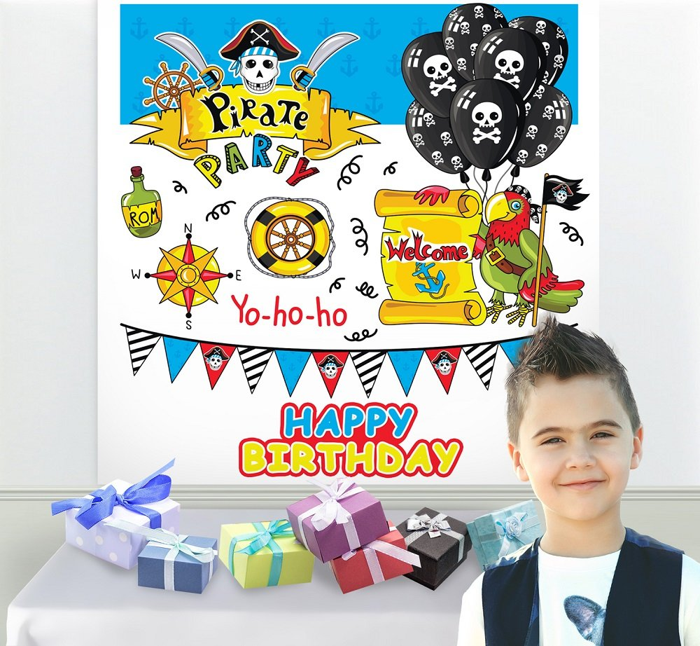 Reusable Pirate Birthday Party Wall Scene Setter Photo Backdrop, 1 Piece, 71'' x 71'', 5.9ft x 5.9ft, Polyester