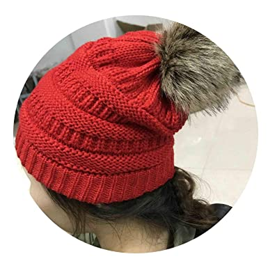 a02ddaa75d454d Woman Winter Hat Beanie Cc Faux Fur Pom Pom Ball for Hats Knitted Cap  Skully Warm Ski Hat Trendy Soft Brand Thick Female Caps at Amazon Women's  Clothing ...