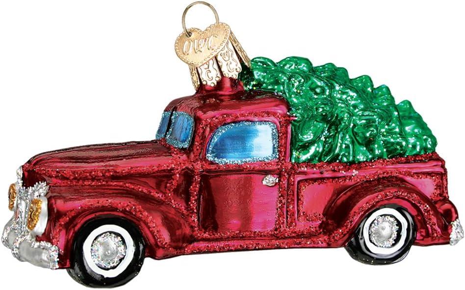 Vintage camión con ornamento del árbol