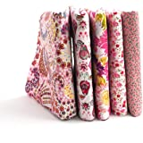 "RayLineDo 5X Different Pattern Pink 100% Cotton Poplin Fabric Fat Quarter Bundle 46 x 56cm ( Appox 18"" x 22"") Patchwork Quilting Fabric"