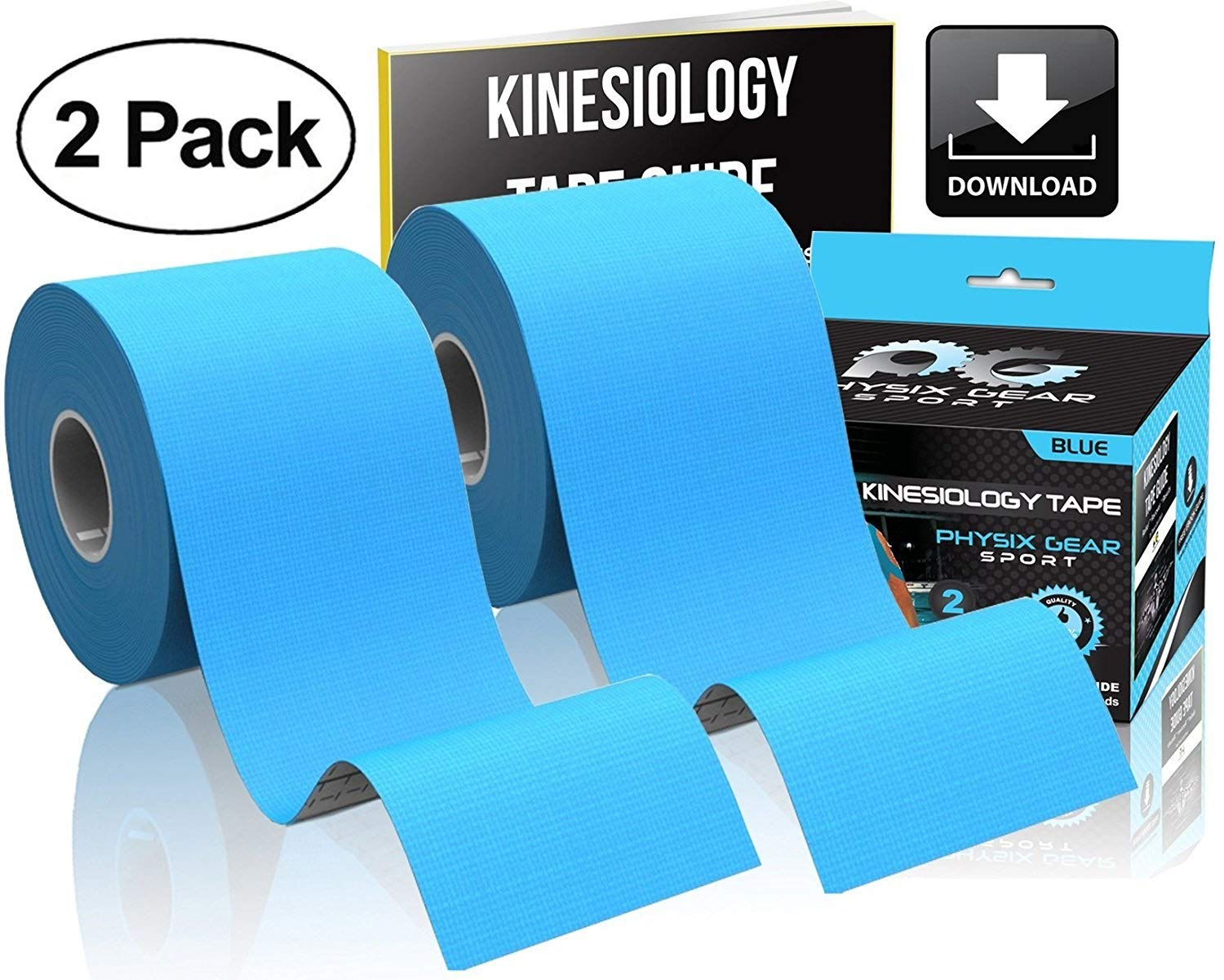 Physix Gear Sport Kinesiology Tape - Free Illustrated E-Guide - 16ft Uncut Roll - Best Pain Relief Adhesive for Muscles, Shin Splints Knee & Shoulder - 24/7 Waterproof Therapeutic Aid (2PK BLU) by Physix Gear Sport (Image #3)