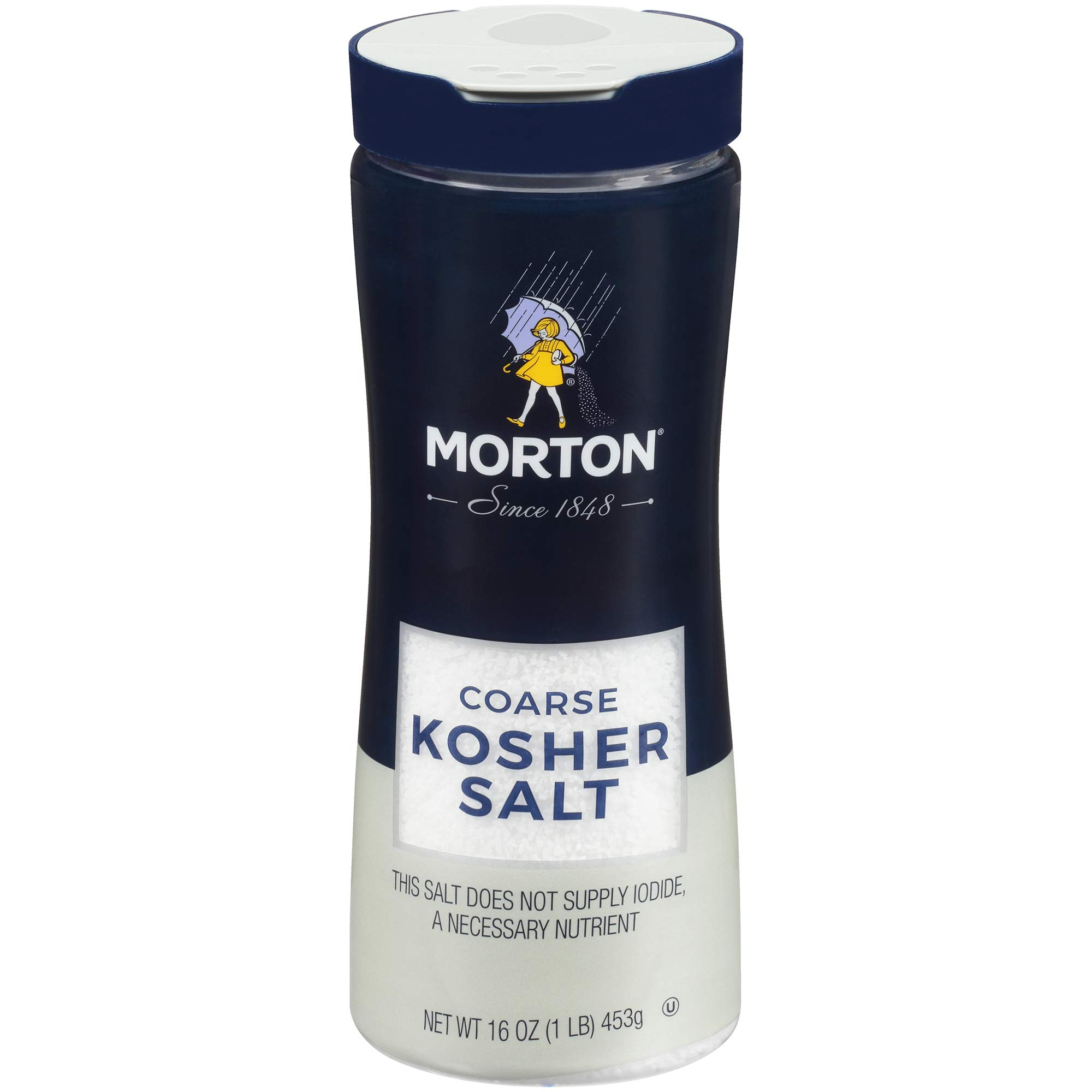 Morton Coarse Kosher Salt For every day Cooking, Grilling, Brining, and as a Margarita Salt Rimmer, 16 OZ Canister (Pack of 12) by Morton