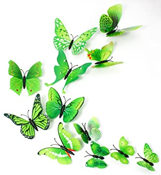 Missbirdler 24 Schmetterlinge Grun 3d Effekt Kuhlschrank