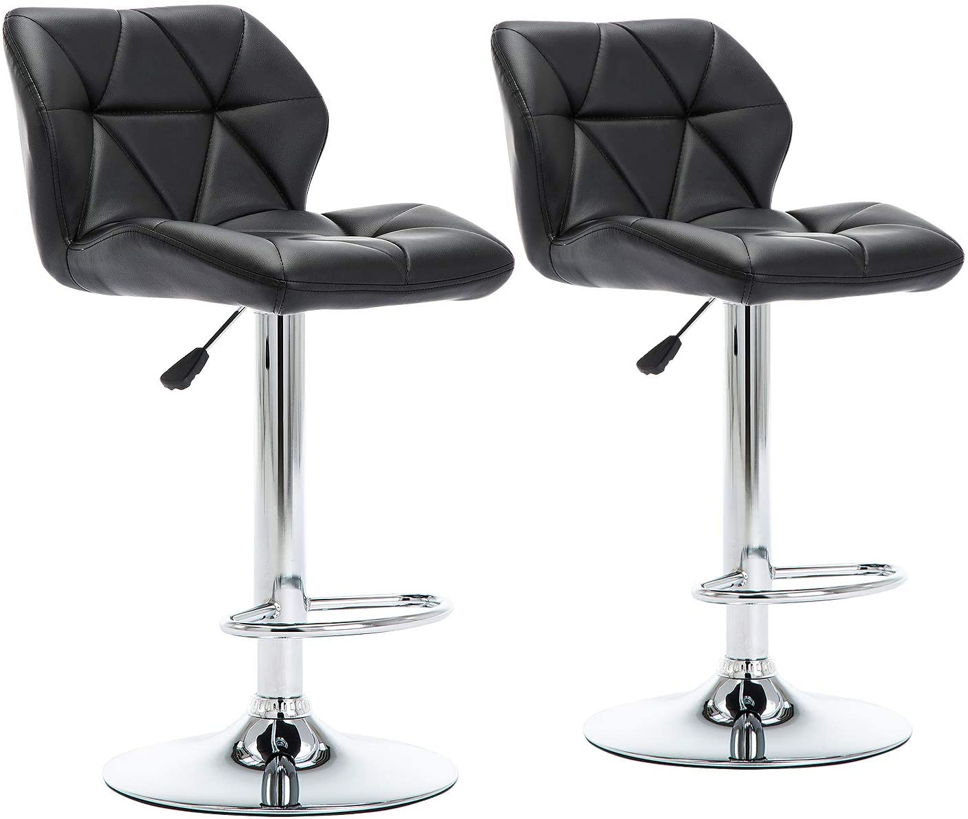 GOTMINSI Modern PU Leather Bar Stools Set of 12, Height Adjustable Swivel  Bar Chairs, Square Counter Height Stools with Back and upholstered seat. ...