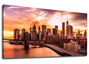 contemporary kitchen office nyc. Yearainn Canvas Wall Art New York City Skyline Sunset Panoramic Painting - Long Nature Artwork Contemporary Kitchen Office Nyc R