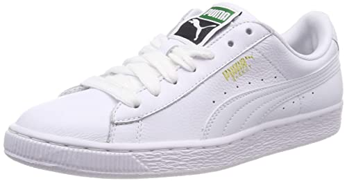 9e04a0e881bc Puma Men s Basket Classic LFS White Leather Sneakers - 10 UK India (44.5 EU