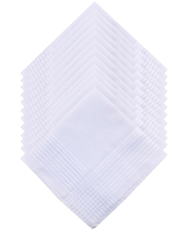COCOUSM Mens Claasic New White 100% Cotton Handkerchiefs Hanky