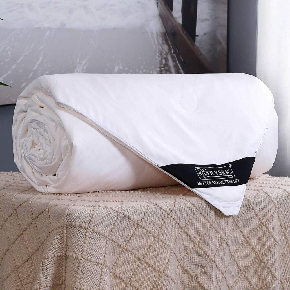 LilySilk Summer Silk Comforter with Cotton Shell 100% Silk Quilt King 104x92 Inches, Long Strand Silk Filled, Smooth Lightweight