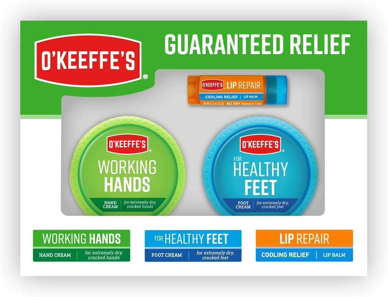 O'Keeffe's Giftbox including Cooling Relief Lip Repair Stick, Working Hands Jar and Healthy Feet Jar