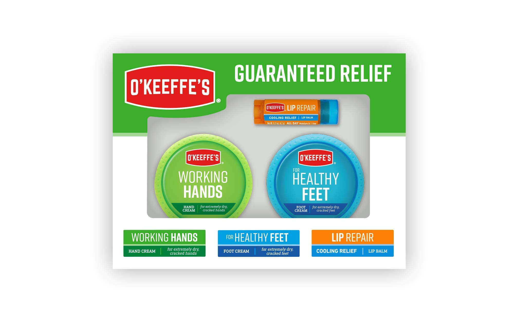 O'Keeffe's Giftbox including Cooling Relief Lip Repair Stick, Working Hands Jar and Healthy Feet Jar by O'Keeffe's