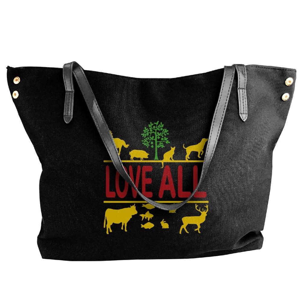 Women's Canvas Large Tote Shoulder Handbag Love All - Vegan Vegetarian Messenger Hobo Bag Tote