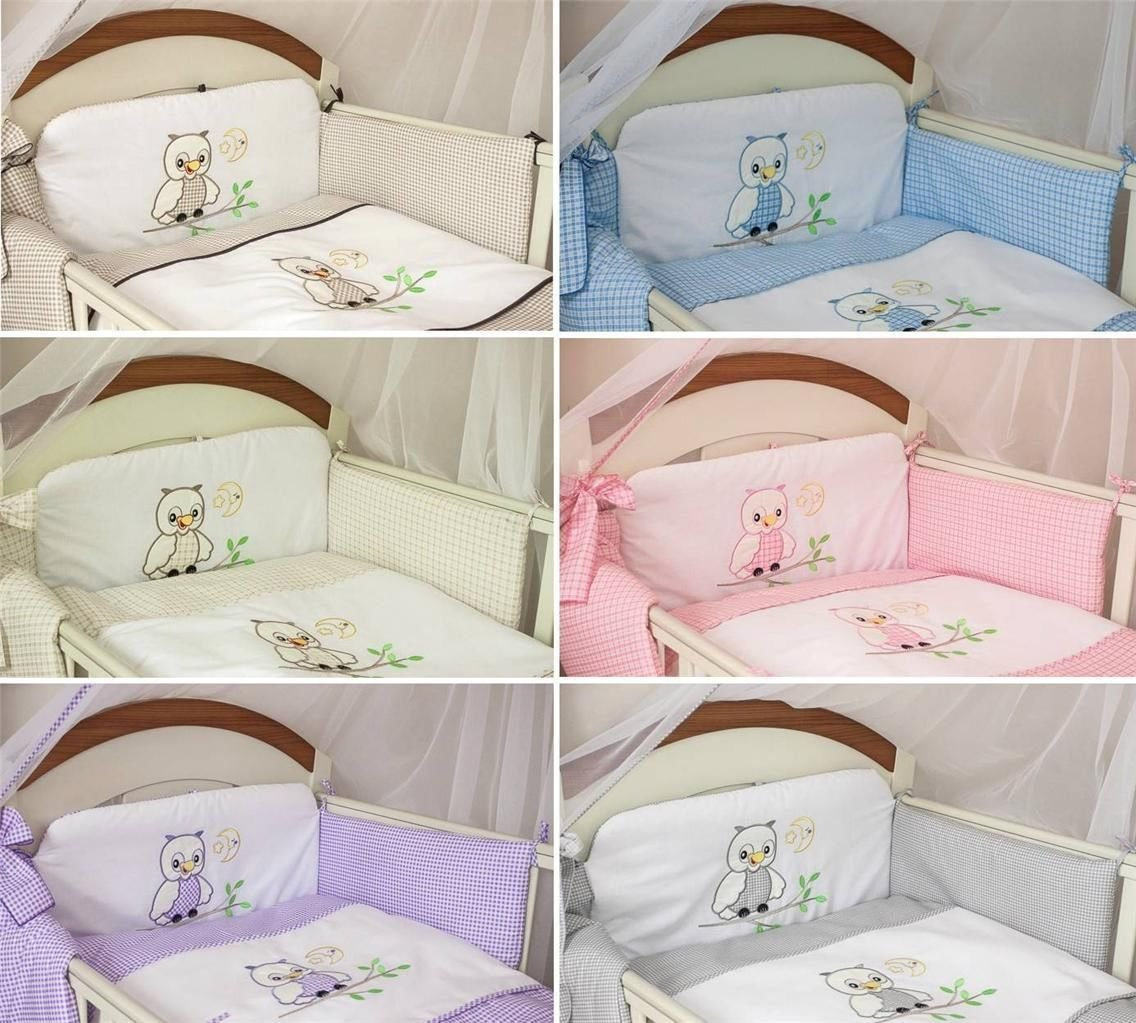3 Piece Nursery Bedding Set with Bumper To Fit Cot Bed & Cot - Owls (Cot 120 x 60cm, Pink) Babycomfort