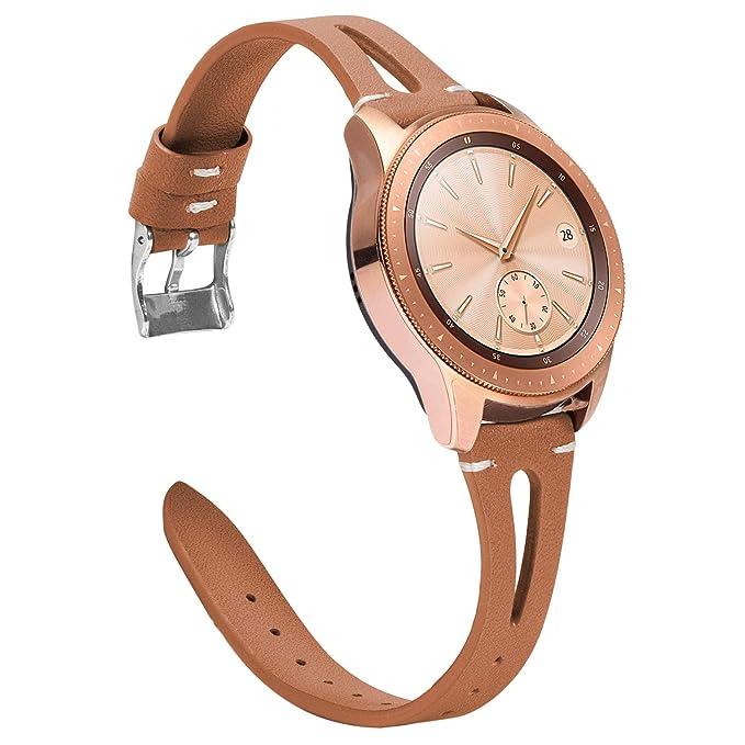 TOYOUTHS Correa de Cuero Compatible con Samsung Galaxy Watch 42 mm ...