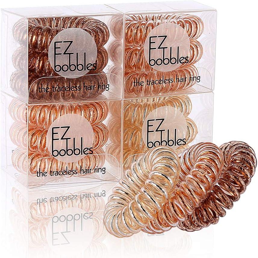 EZbobble - 12 gomas elásticas para el pelo en espiral sin arrugas, para mujeres y niñas, de plástico, serie multicolor en espiral (Color combination-8)