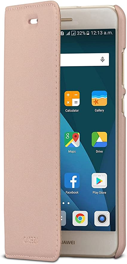 CASEZA Huawei P10 Lite Funda Rosa Oro Tipo Libro Piel PU Case ...