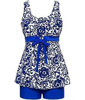 I VVEEL Traje de baño Tankini Impreso Floral de Swimdress para Mujer