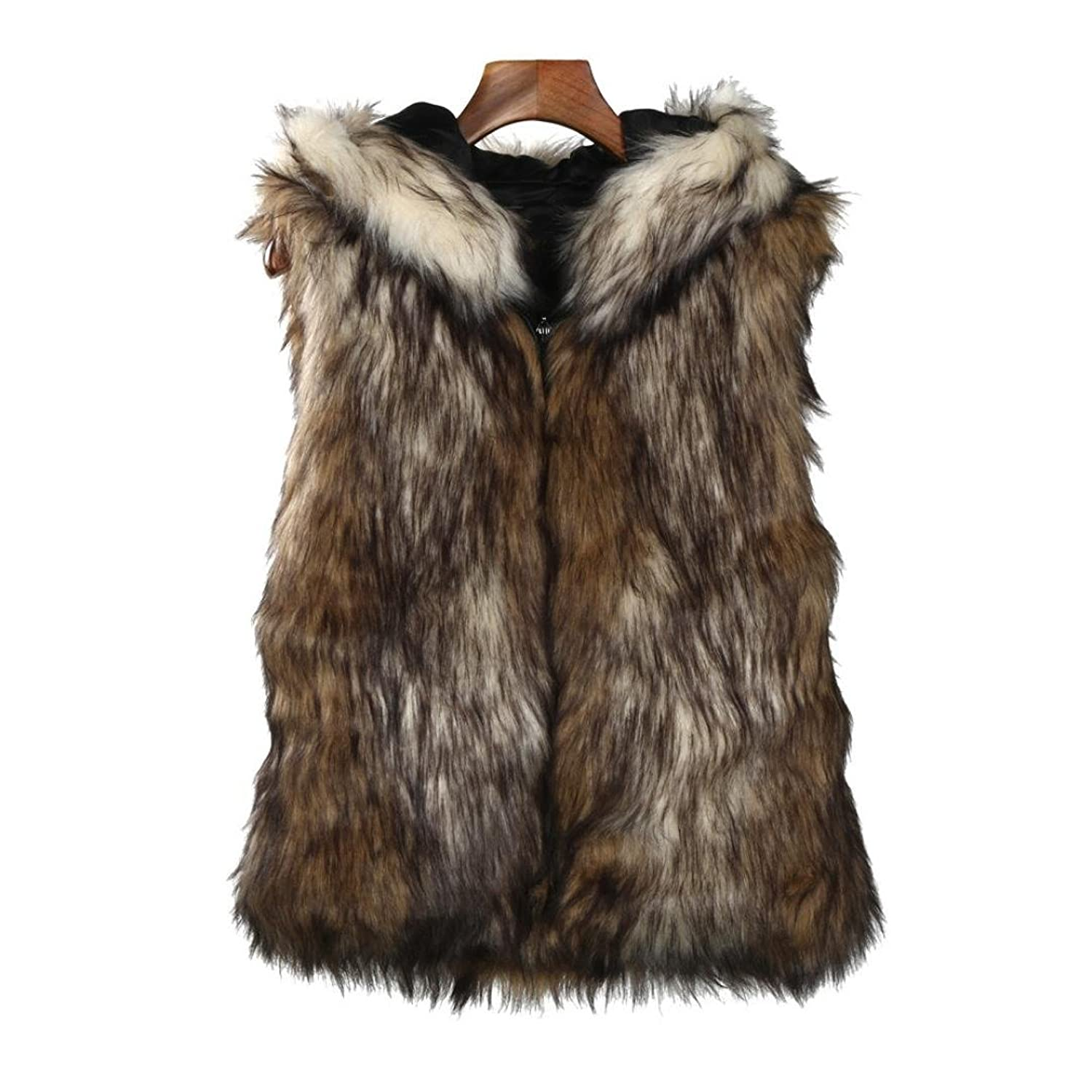 Creazy Women Faux Fur Vest Jacket Sleeveless Winter Warm Coat Hooded Waistcoat Gilet