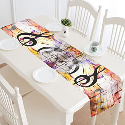 InterestPrint Table Runners Music Concept Table Runner