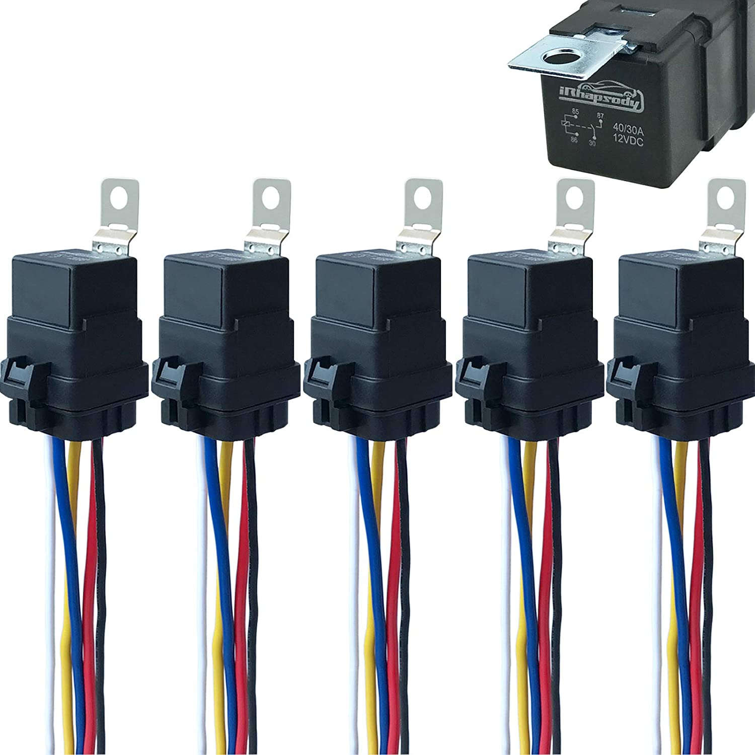 Amazon.com: 5 Pack 40/30 AMP 12 V DC Waterproof Relay and Harness - Heavy  Duty 12 AWG Tinned Copper Wires, 5-PIN SPDT Bosch Style Automotive Relay:  Industrial & ScientificAmazon.com