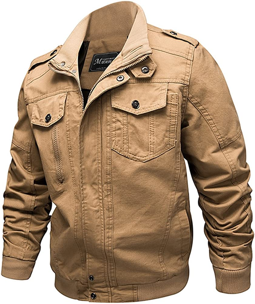 b366a39b0 Men's Bomber Stand Collar Casual Windbreaker Cotton Solid Military Cargo  Outdoor Jackets Coat