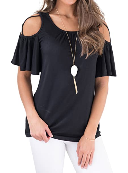 511b7e5c0bae1 Adreamly Women s Casual Loose Ruffled Short Sleeve Strappy Cold Shoulder  Tops Basic T Shirts Blouses Black