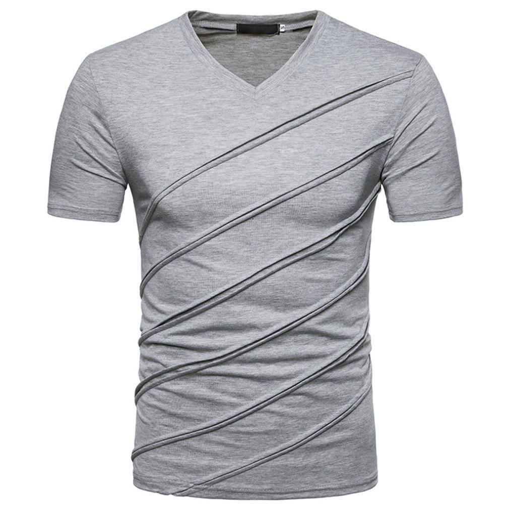 Men Shirts Clearance,Men's Summer Short Sleeve Slim Shirt Tops Casual (Gray, M)