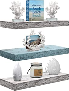 Sorbus Floating Shelf Set — Rustic Wood Coastal Beach Style Hanging Rectangle Wall Shelves for Home Décor, Trophy Display, Photo Frames, etc (3-Pack, Rectangle Shelf Set - Blue White)