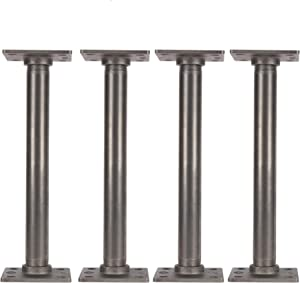 """PIPE DÉCOR 1"""" X 12"""" Table Legs with New Square Flanges Set of 4 Authentic Industrial Pipes for Custom Vintage Furniture, Tables, and Desks Rustic DIY KIT with Hardware (12 inch)"""