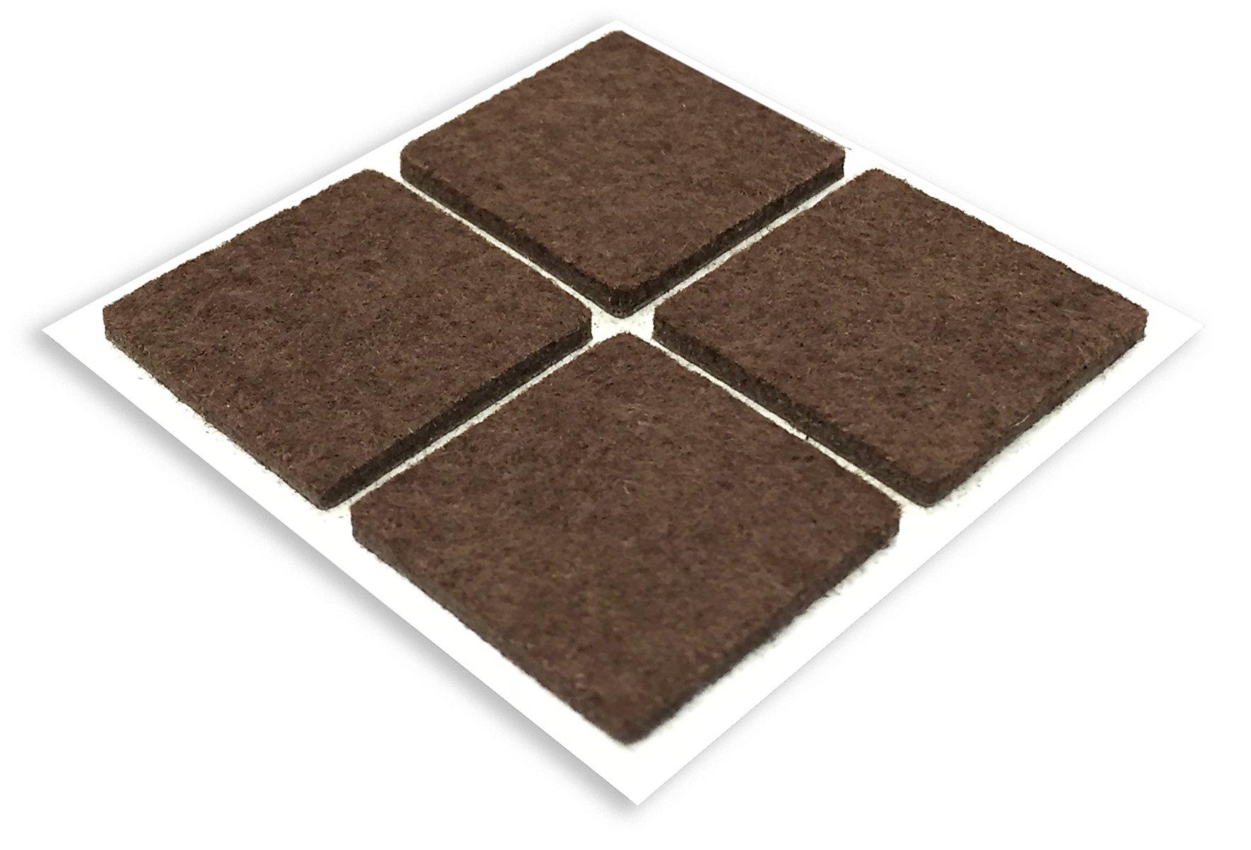 Shepherd Hardware 9823 1-Inch Square Self-Adhesive Felt Furniture Pads, 4-Pack, Brown