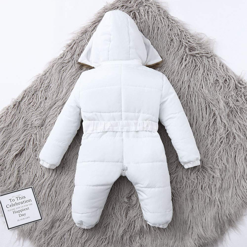 Hatoys Winter Infant Baby Boy Girl Romper Jacket Hooded Jumpsuit Warm Thick Coat Outfit