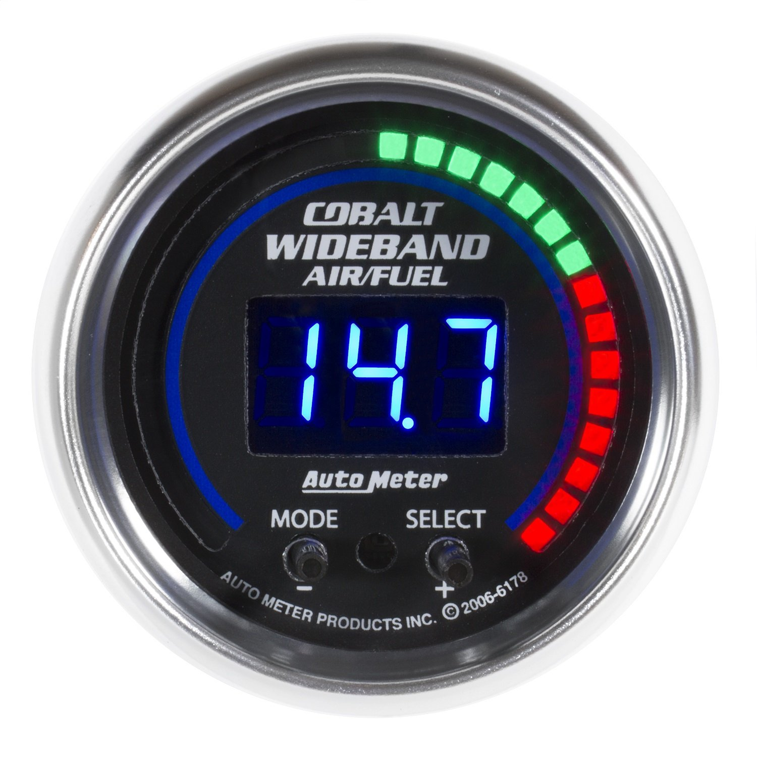 Auto Meter AutoMeter 6197 Gauge, Air/Fuel Ratio-Pro Plus, 2 1/16'', 10:1-20:1, Digital W/Peak & Warn, Cobalt