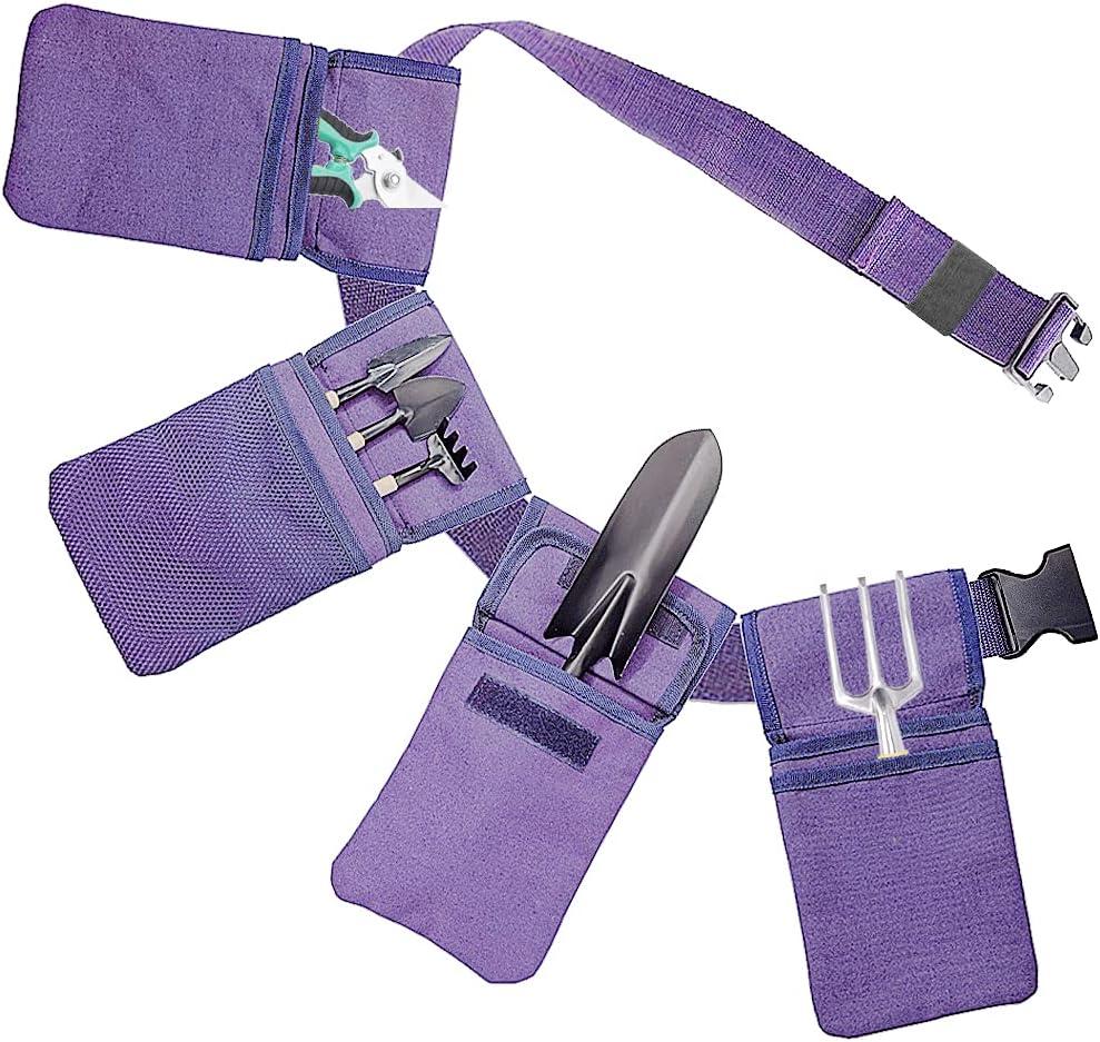 Softfree Garden Tool Belt for Women, Canvas Gardening Belt with Pocket, Garden Yard Hand Tool Set Kit Gardening Gift for Women (Purple)