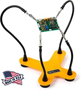 QuadHands Helping Hands Soldering Third Hand Tool | 4 Flexible Metal Arms Are Easy to Position | Rotating Stainless Steel Clamps | Made in USA - Professional Grade