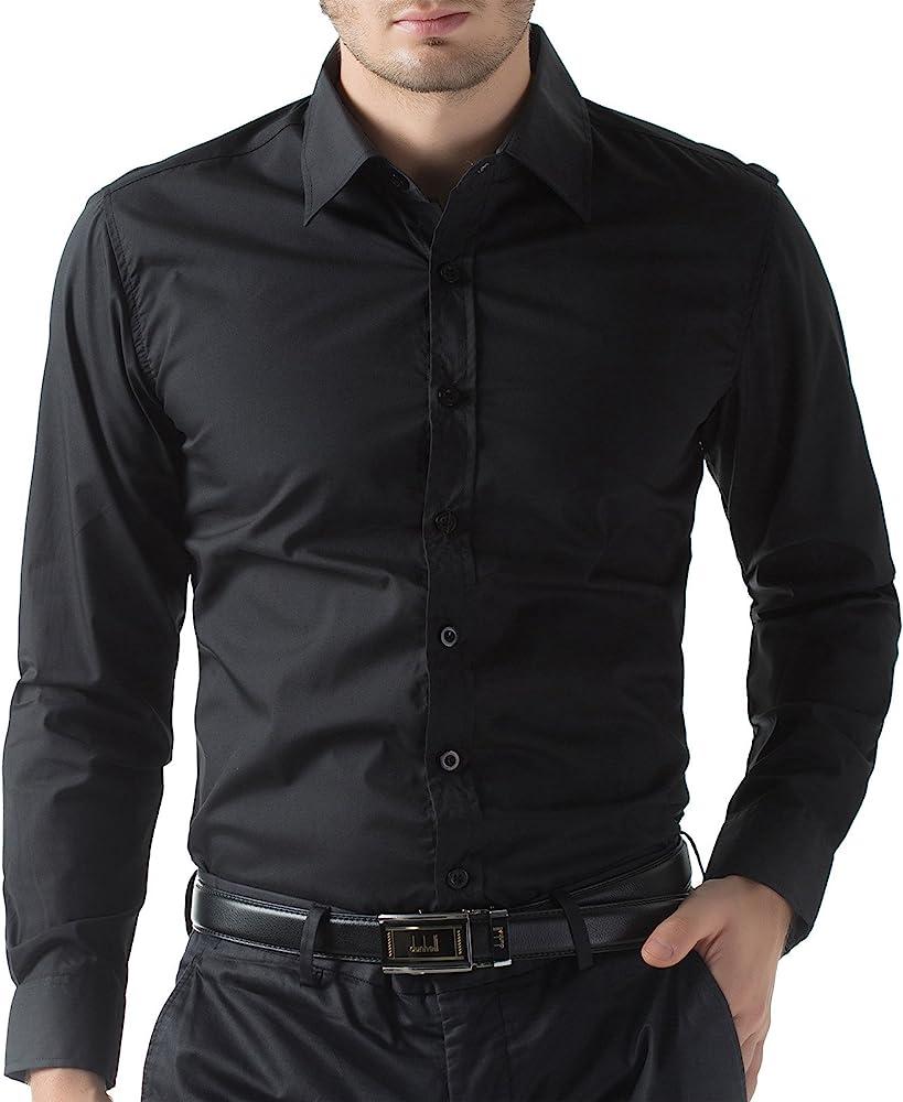 2c4884cc Amazon.com: Black Slim Fit Dress Shirts for Men Long Sleeve 1044-1 ...