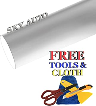 Sky Auto INC Premium Car Satin Matte Chrome Plating Vinyl Film Wrap Sticker Sheet Air Release 5ft x 6ft, Gold
