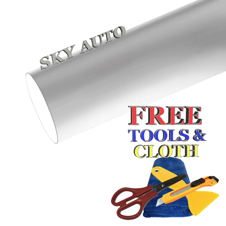 Sky Auto INC Premium Car Satin Matte Chrome Plating Vinyl Film Wrap Sticker Sheet Air Release (10ft x 5ft, Silver)