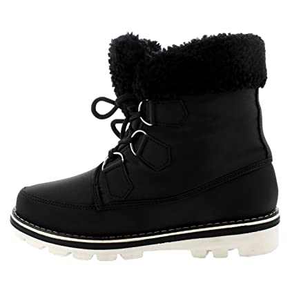 6f43f488c Polar Products Womens Waterproof Durable Snow Winter Hiking Fleece Ankle  Boots - Black Nylon - US8/EU39 - YC0493