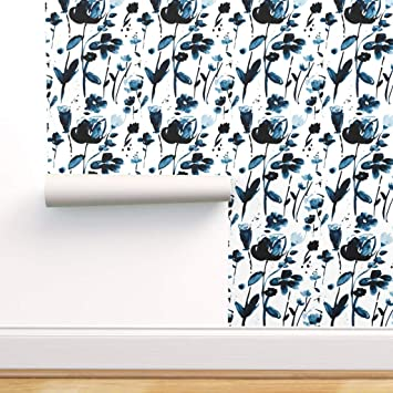 Spoonflower Peel And Stick Removable Wallpaper Prairie Floral Indigo White Fable Garden Flower Nature Blue Watercolor Girly Print Self Adhesive Wallpaper 24in X 36in Roll Amazon Com