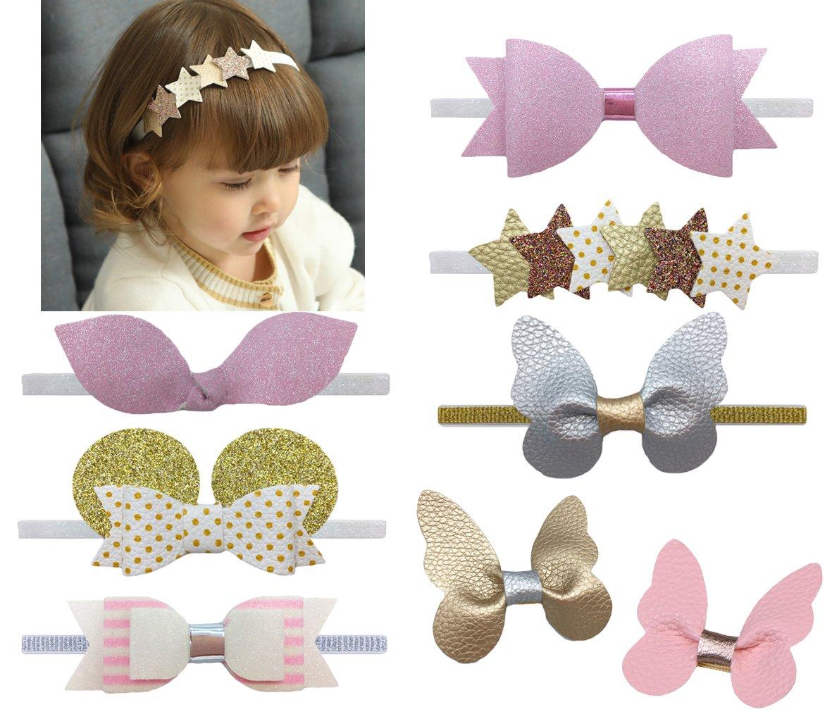 DANMY Baby Girl Rhinestone Crown Headbands Toddler Princess Headband Hair Accessories (Band and Clip (8pcs))