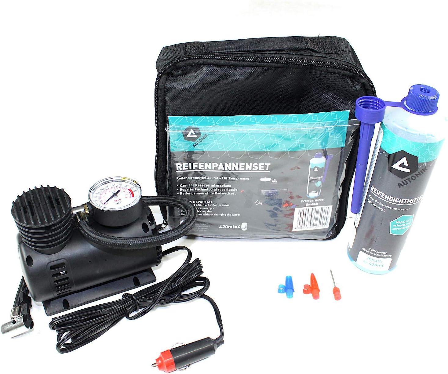 Reifenpannenset Mit 12v Kompressor Pkw Pannenset Reifendichtmittel Reifendicht Auto