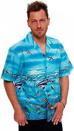 KYs | Original Camisa Hawaiana | Caballeros | S - 4XL | Manga Corta | Bolsillo Delantero | Estampado Hawaiano | Tiburones | turquesa: Amazon.es: Ropa y accesorios