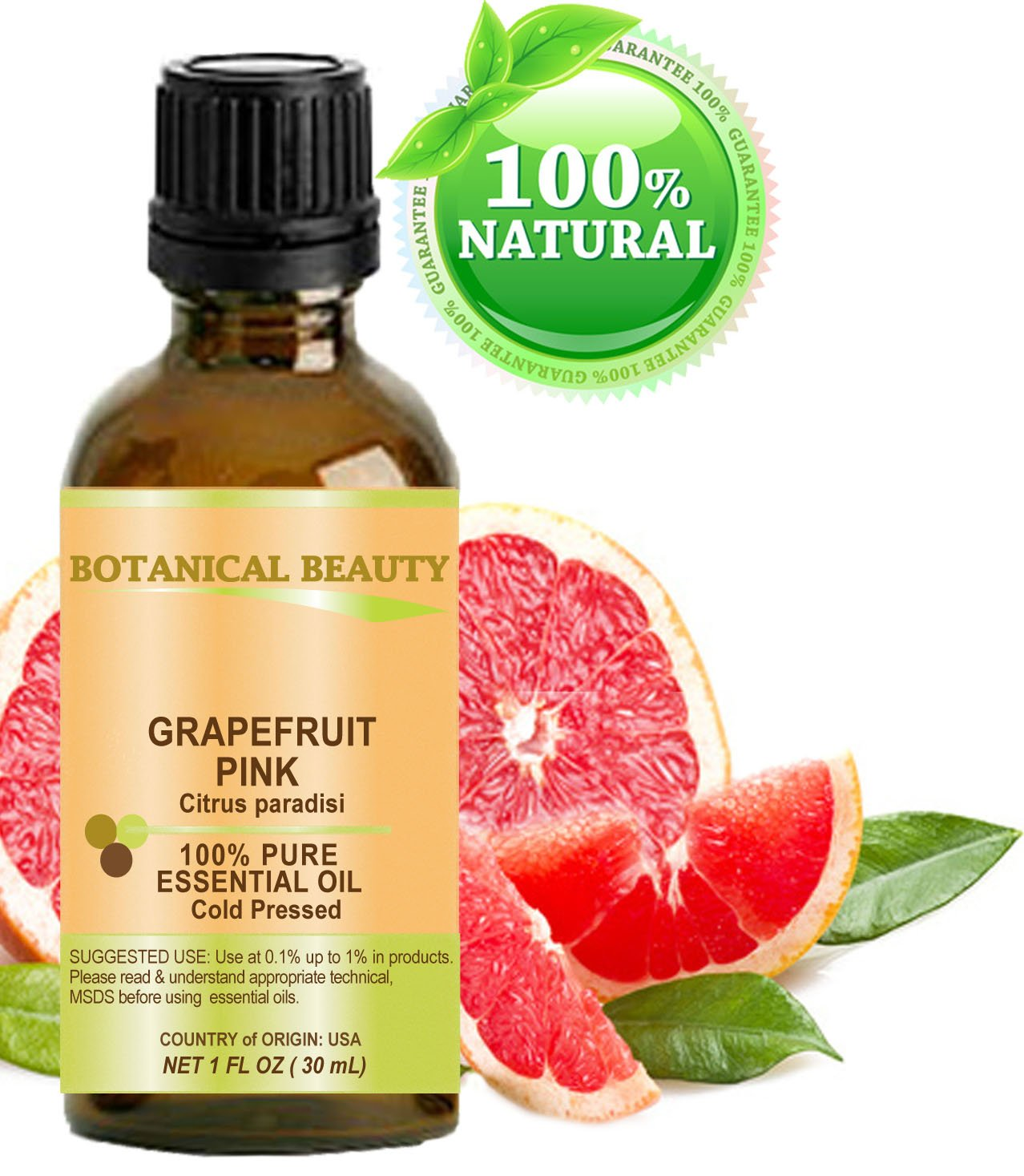 GRAPEFRUIT Essential Oil. 100% Pure Therapeutic Grade, Premium Quality, Undiluted. 1 Fl.oz.- 30 ml. by Botanical Beauty.