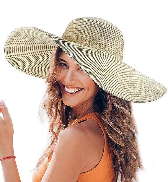 2273105988344 Dafunna Women Floppy Straw Hat Wide Brim Beach Sun Hat with Adjustable  Drawstring Beige