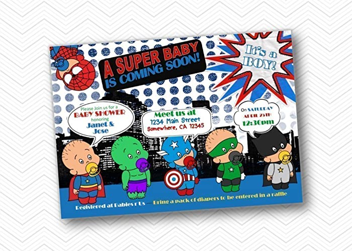 SuperHero Baby Shower Invitations. Baby Boy Super Hero Printed Shower  Invite 5x7
