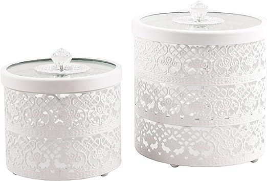 Lata de metal LACE blanco 2 piezas Juego de lata adorno con punta (grande + pequeño) Box Set: Amazon.es: Hogar