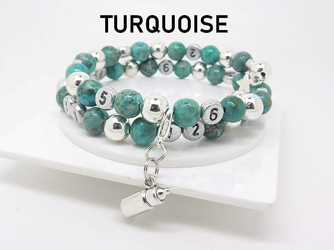 Idee Cadeau Naissance.Bracelet D Allaitement Pierres Fines Turquoise Et