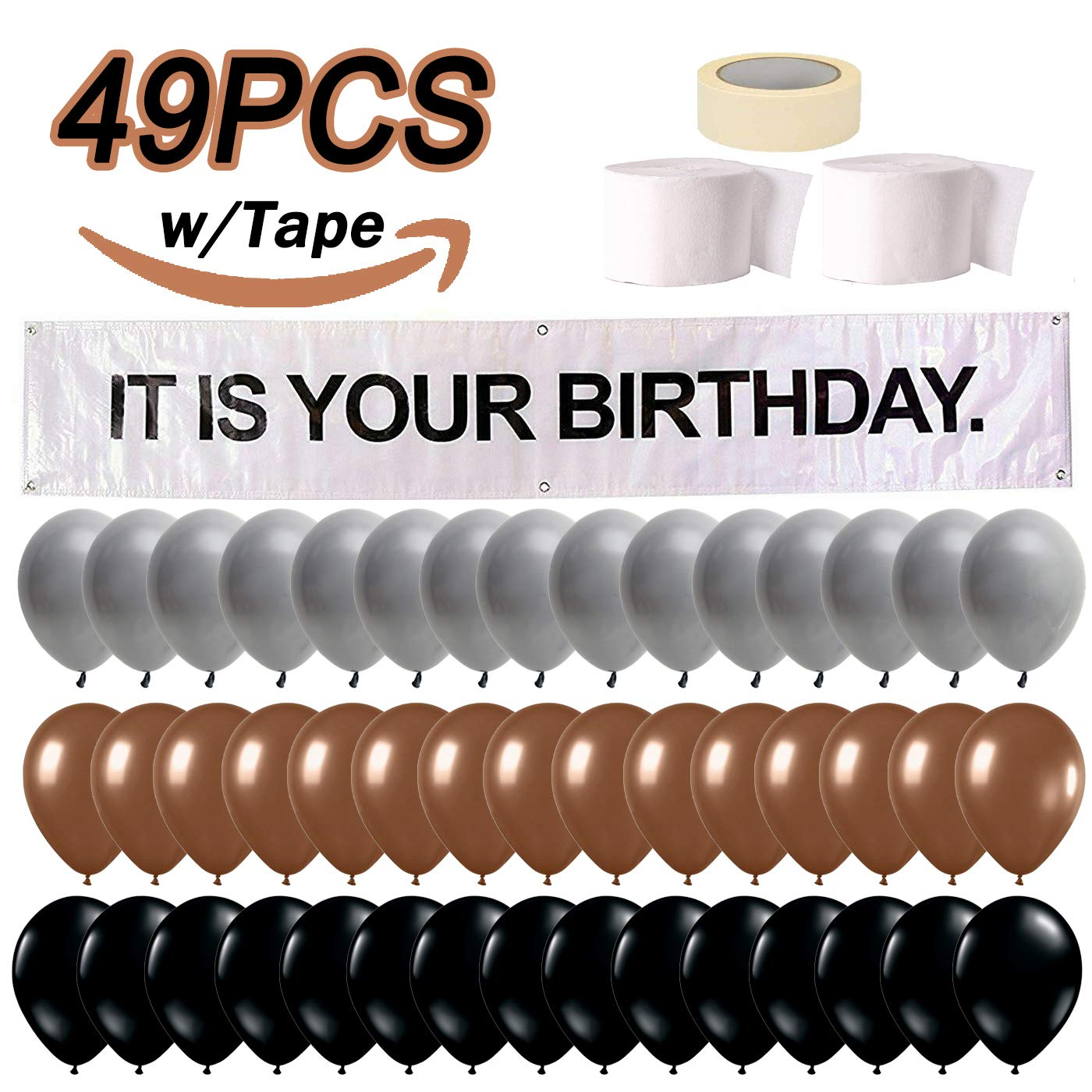 It is Your Birthday Banner, The Office Dwight Theme Infamous Husband Birthday Party Decorations, Brown Black Grey Balloon with White Streamers Tape 49Pcs Full Kit by LovinParty