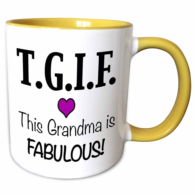 3dRose EvaDane - Funny Quotes - TGIF This Grandma is Fabulous, Purple -  15oz Two-Tone Yellow Mug (mug_202948_13)