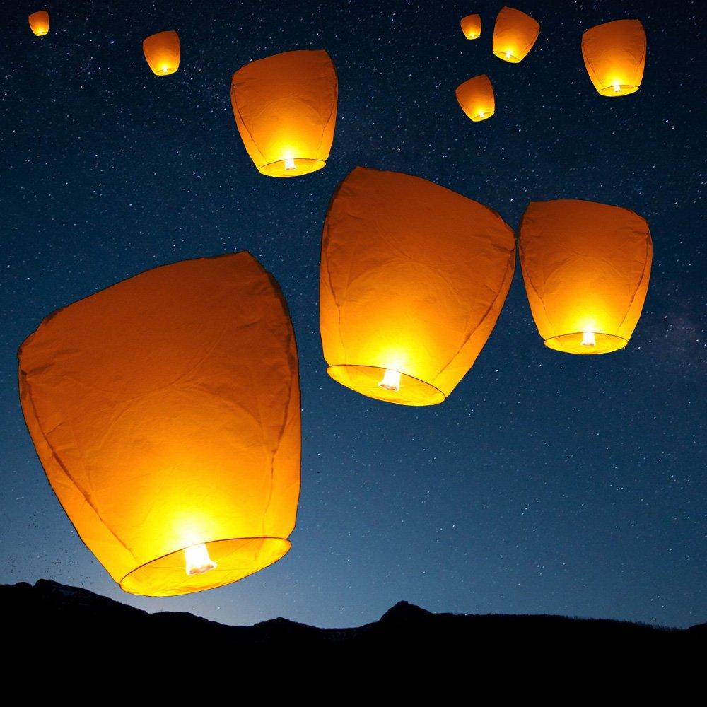 10 Pcs Sky Lanterns Wishing Lantern White