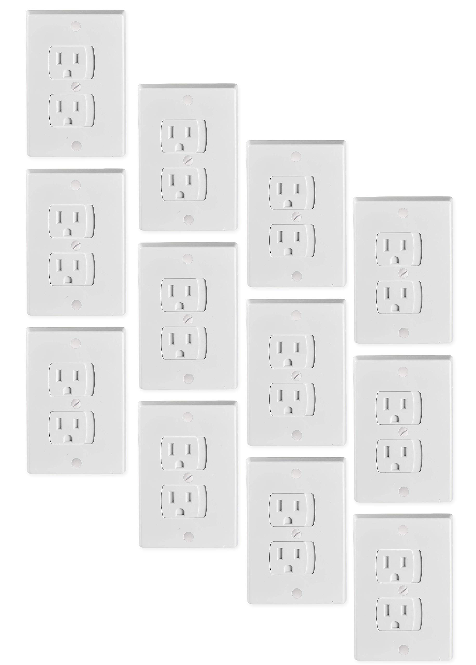 Tiger Chef Universal White 12-Pack Self-Closing Electrical Light Switch Outlet Covers Plate, Baby Proofing Child Safet6 by Tiger Chef (Image #1)